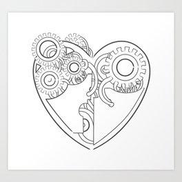 Cool steampunk mechanical heart, hand drawn illustration Art Print