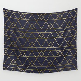 Modern Gold Navy Blue Wall Tapestry