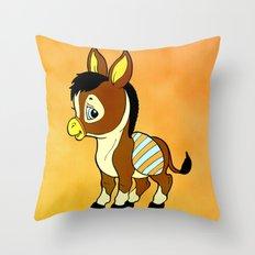 Childhood Donkey Throw Pillow