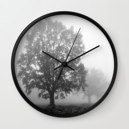 Trees on a Misty Morning Wall Clock