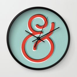 Ampersand red white and green and symbol typography design minimalist home decor wall decor Wall Clock