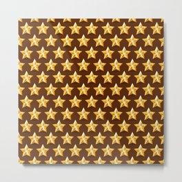 Gold Stars on Brown Background Metal Print