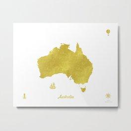 Australia Golden map voyage Metal Print