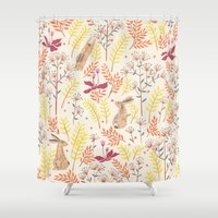 rabbits Shower Curtains featuring rabbits field by Dao Linh