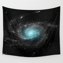 Aqua Blue Gray Pinwheel Galaxy Wall Tapestry