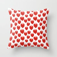 vegetarian Throw Pillows featuring Strawberries - trendy fresh tropical fruit vegan vegetarian juice juicing cleanse by CharlotteWinter