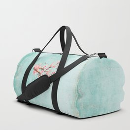 Its All Over Again - Romantic Spring Cherry Blossom Butterfly Illustration on Teal Watercolor Duffle Bag