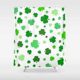 Green Shamrock Pattern Shower Curtain