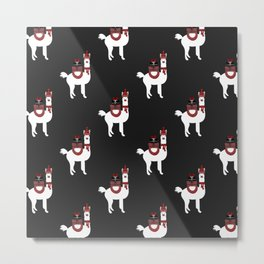 Christmas Llama Pattern on black Metal Print