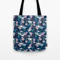 jurassic park Tote Bags featuring Jurassic Park by Bobo1325