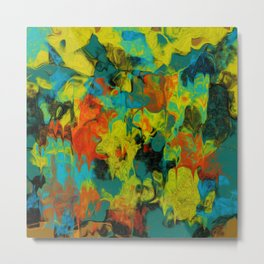 Blue and Gold Abstract with Orange Metal Print