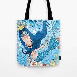 Quirky Mermaid with Sea Friends, Blue version Tote Bag