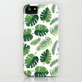 Monstera and palm leaves iPhone Case