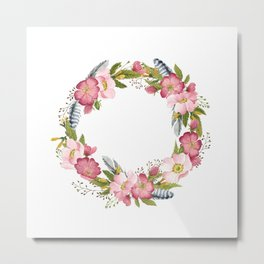 Wild Roses Wreath Metal Print