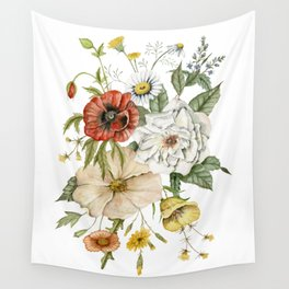 Wildflower Bouquet on White Wall Tapestry