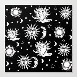 Sun and Moon Celestial Pattern Canvas Print