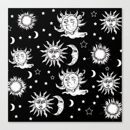 Sun and Moon Celestial Pattern Canvas Print