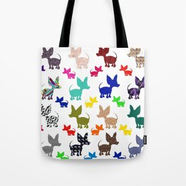 colorful chihuahuas on parade  Tote Bag