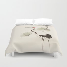 Oriental Red-Crowned Crane 002 Duvet Cover