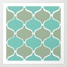 Marrakech Pattern Sea Green Art Print