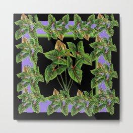 Decorative Green Tropical Botanical Foliage  Lilac-Black Art Metal Print
