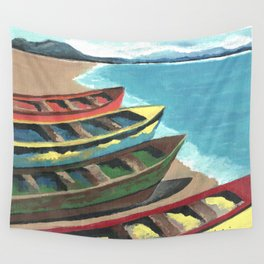 Boats In A Row Wall Tapestry