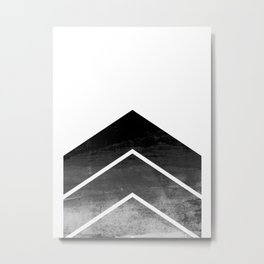Black Ombre Chevron Metal Print