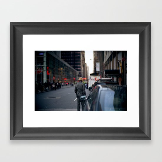 Panama Hat in the New York Streets Framed Art Print