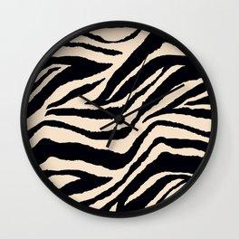 Zebra Animal Print Black and off White Pattern Wall Clock