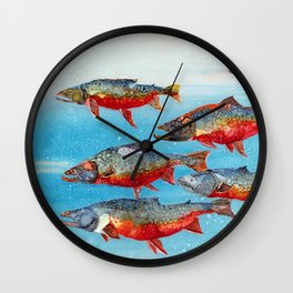 Arctic char - Alcohol Ink Wall Clock