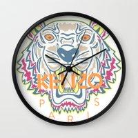kenzo Wall Clocks featuring KENZO Tiger by cvrcak
