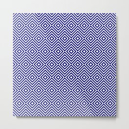 Navy Blue and White Chevron Squares Metal Print
