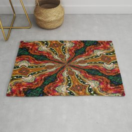 Red, Green And Gold Swirl Pattern Rug