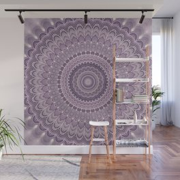 Purple feather mandala Wall Mural