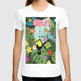 Parrots, Toucan and Flamingo Tropical Birds Tropical Forest Pattern T-shirt