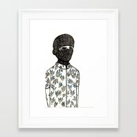 pinapple Framed Art Prints featuring Pinapple Jihad Club by Alex Bruno