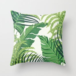 Green tropical leaves II Throw Pillow