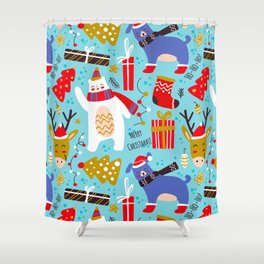 ho ho christmas pattern Shower Curtain