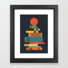 Book stack with a ball Framed Art Print