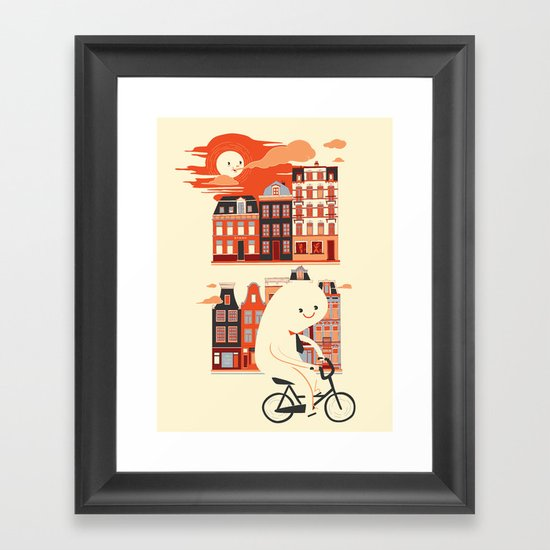 Happy Ghost Biking Through Amsterdam Framed Art Print
