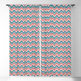 Bargello waves pink red blue Blackout Curtain