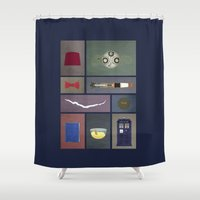 fez Shower Curtains featuring Eleven (Doctor Who) Colors by avoid peril
