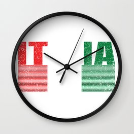 Italia Italian Flag Pride Country Vintage Gift Wall Clock