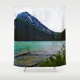 Geraldine Peak as seen from Geraldine Lake in Jasper National Park, Canada Shower Curtain
