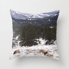 Snow mountain elk Throw Pillow