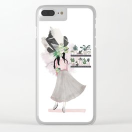 pink & plants 2 Clear iPhone Case