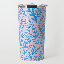 Pastel Pink and Blue Leaves Gouache Pattern Travel Mug