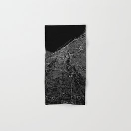 Cleveland Black Map Hand & Bath Towel