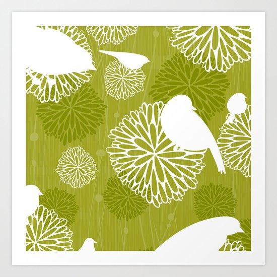Pom Poms & Birds in Green by Friztin Art Print
