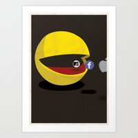 pacman Art Prints featuring PACMAN by Chris James